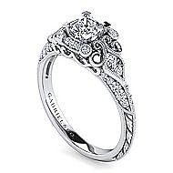 Platinum Princess Cut Halo Engagement Ring angle 3