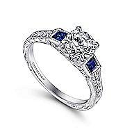 Platinum Round 3 Stones Engagement Ring angle 3