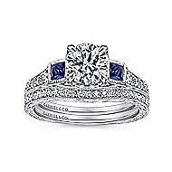 Platinum Round 3 Stones Engagement Ring angle 4