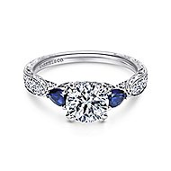 Platinum Round 3 Stones Engagement Ring angle 1