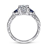 Platinum Round 3 Stones Engagement Ring angle 2