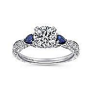 Platinum Round 3 Stones Engagement Ring angle 5