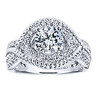 Platinum Round Free Form Engagement Ring angle 5