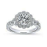 Platinum Round Halo Engagement Ring angle 5