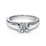 Platinum Round Solitaire Engagement Ring angle 1