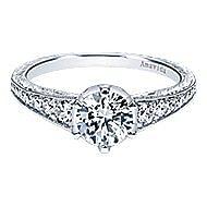 Platinum Round Straight Engagement Ring angle 1