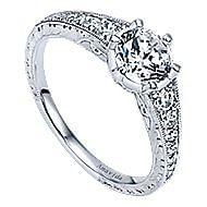 Platinum Round Straight Engagement Ring angle 3
