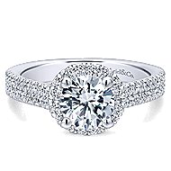Poppy 14k White Gold Round Halo Engagement Ring angle 1