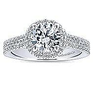 Poppy 14k White Gold Round Halo Engagement Ring angle 5