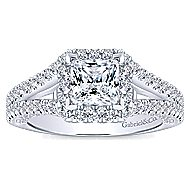Porto 14k White Gold Princess Cut Halo Engagement Ring angle 5