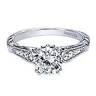 Posh Platinum Round Straight Engagement Ring angle 1