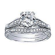 Posh Platinum Round Straight Engagement Ring angle 4