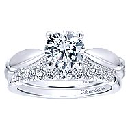 Posy 14k White Gold Round Straight Engagement Ring angle 4