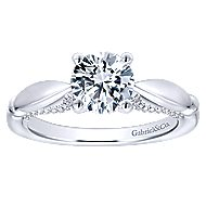Posy 14k White Gold Round Straight Engagement Ring angle 5