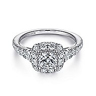 Priscilla 14k White Gold Cushion Cut Halo Engagement Ring angle 1