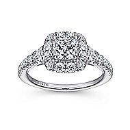 Priscilla 14k White Gold Cushion Cut Halo Engagement Ring
