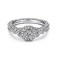 Pura 14k White Gold Round Halo Engagement Ring angle 1