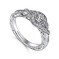 Pura 14k White Gold Round Halo Engagement Ring angle 3