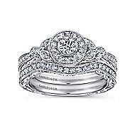 Pura 14k White Gold Round Halo Engagement Ring angle 4