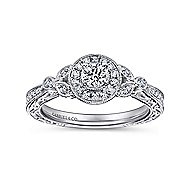 Pura 14k White Gold Round Halo Engagement Ring angle 5