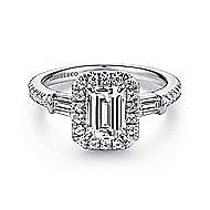 Raveena 14k White Gold Emerald Cut 3 Stones Halo Engagement Ring angle 1