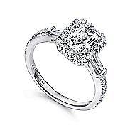 Raveena 14k White Gold Emerald Cut 3 Stones Halo Engagement Ring angle 3