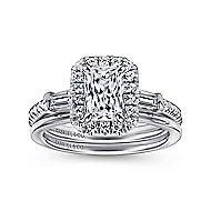 Raveena 14k White Gold Emerald Cut 3 Stones Halo Engagement Ring angle 4