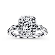 Raveena 14k White Gold Emerald Cut 3 Stones Halo Engagement Ring angle 5