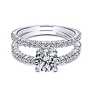 Ravenna 14k White Gold Round Split Shank Engagement Ring angle 1