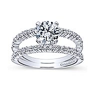 Ravenna 14k White Gold Round Split Shank Engagement Ring angle 5