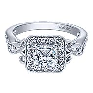 Reade 14k White Gold Princess Cut Halo Engagement Ring angle 1