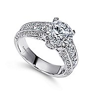 Rebecca 14k White Gold Round Straight Engagement Ring angle 3