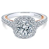 Reina 18k White And Rose Gold Round Halo Engagement Ring angle 1