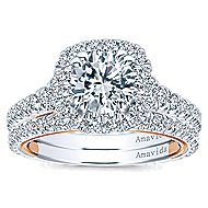 Reina 18k White And Rose Gold Round Halo Engagement Ring angle 4