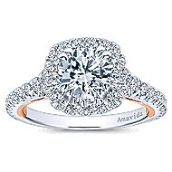 Reina 18k White And Rose Gold Round Halo Engagement Ring angle 5