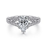 Remy 14k White Gold Pear Shape Split Shank Engagement Ring angle 1
