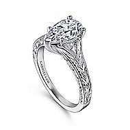 Remy 14k White Gold Pear Shape Split Shank Engagement Ring angle 3