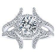 Rhea 14k White Gold Round Halo Engagement Ring angle 5