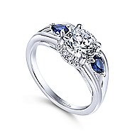 Ria 18k White Gold Round 3 Stones Engagement Ring angle 3