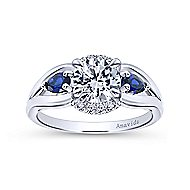 Ria 18k White Gold Round 3 Stones Engagement Ring angle 5