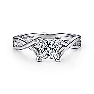 Robin 14k White Gold Princess Cut Solitaire Engagement Ring angle 1