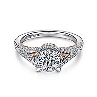 Rochelle 14k White And Rose Gold Round Split Shank Engagement Ring