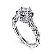 Rocio 18k White Gold Round Straight Engagement Ring angle 3