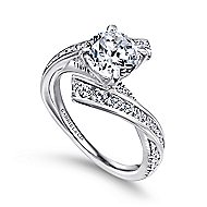 Rogue 14k White Gold Round Bypass Engagement Ring angle 3