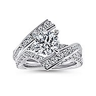 Rogue 14k White Gold Round Bypass Engagement Ring angle 4