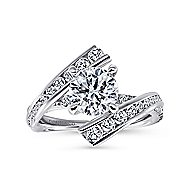 Rogue 14k White Gold Round Bypass Engagement Ring angle 5