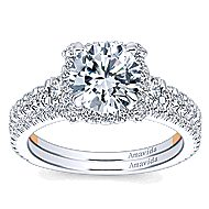 Romance 18k White And Rose Gold Round Halo Engagement Ring angle 4