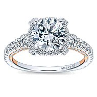 Romance 18k White And Rose Gold Round Halo Engagement Ring angle 5