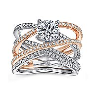 Ronny 14k White And Rose Gold Round Twisted Engagement Ring angle 4