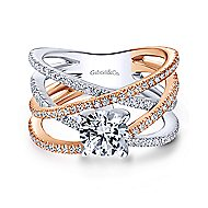Ronny 18k White And Rose Gold Round Twisted Engagement Ring angle 1